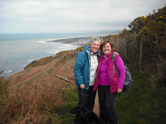 Two ladies walkig on the coastal path