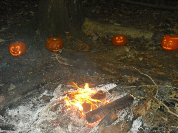 Campfire with pumpkins